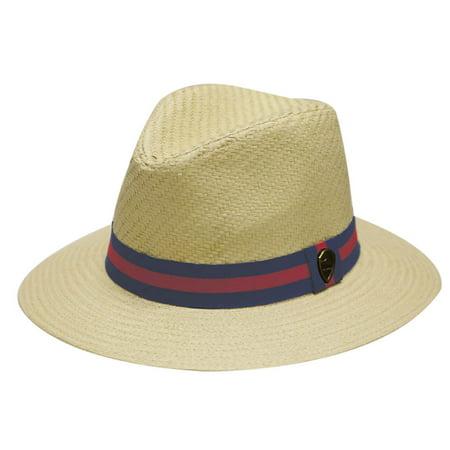 b778daffc1e Pamoa Unisex Pms480 Band Wide Brim Straw Fedora Hats Natural S/M Size -  Walmart.com