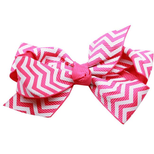 Hair Bow Chevron Alligator Clip Bright Pink - image 1 de 1