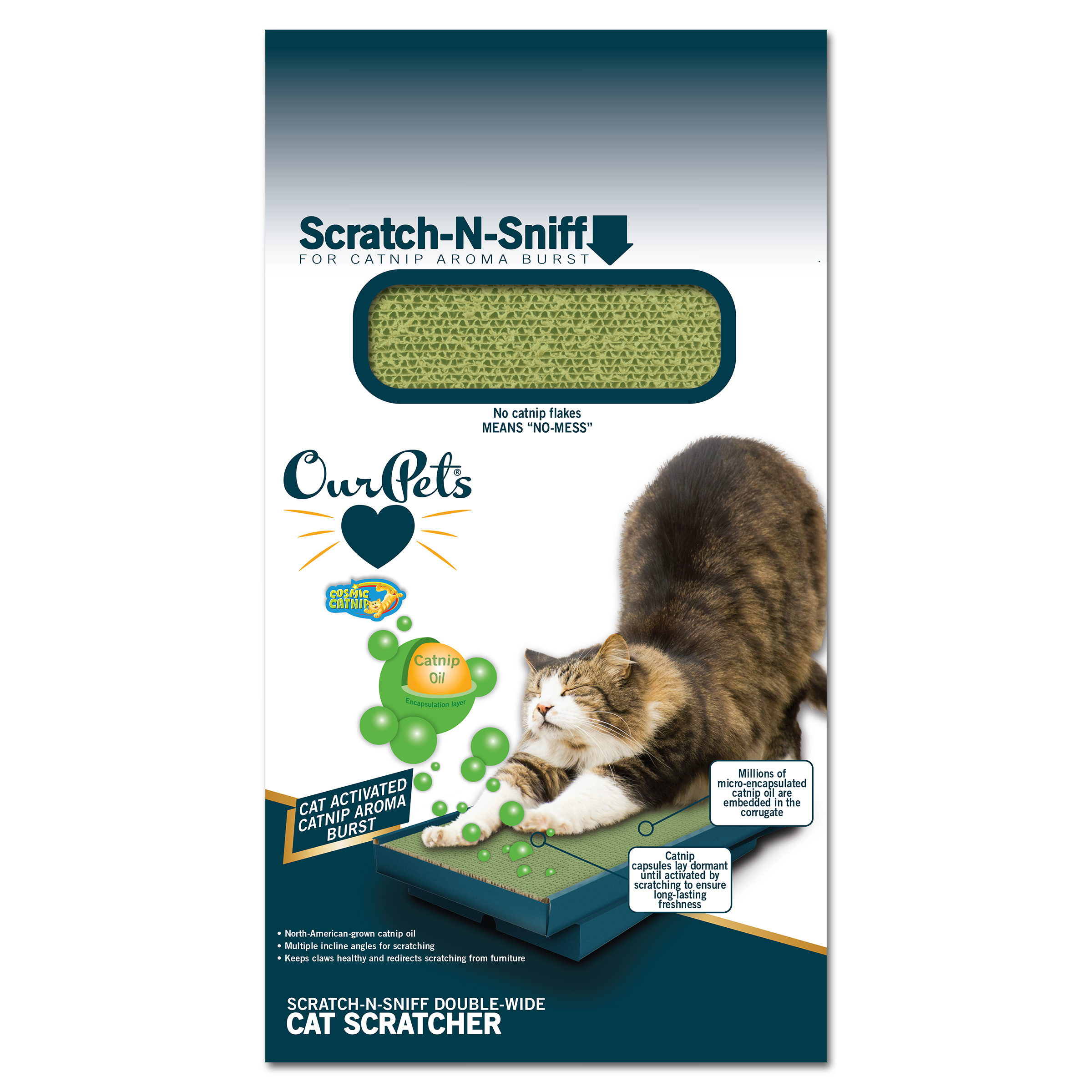 OurPets Scratch-N-Sniff Cat Scratcher Double-Wide with Microencapsulated Catnip