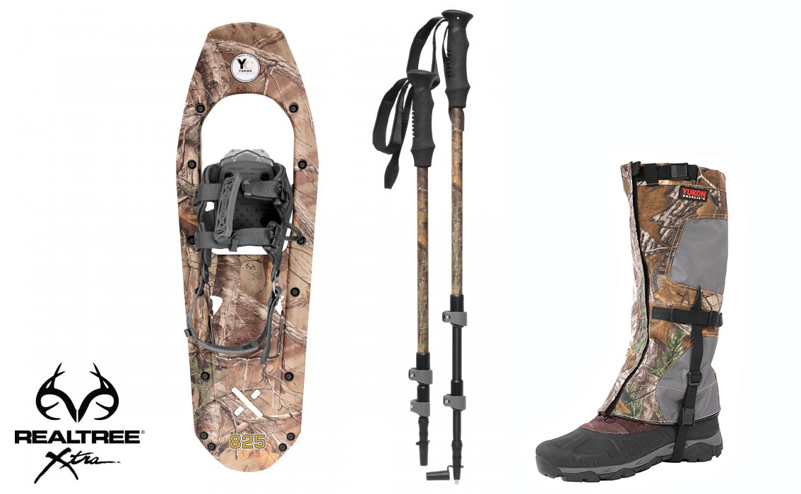 Yukon Charlie's Molded Snowshoes(up to 200lbs) Wood Camo w poles & L XL gaiters by