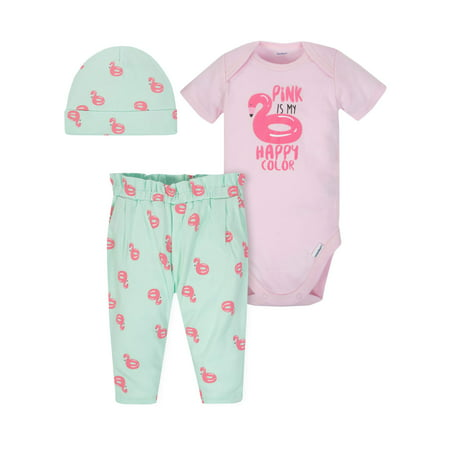 Onesies Bodysuit, Pants and Cap, 3pc Outfit Set (Baby Girls) - Striper Outfits