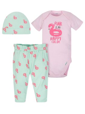 124d1a44d Product Image Onesies Bodysuit, Pants and Cap, 3pc Outfit Set (Baby Girls)
