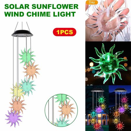 6 LED Solar Sunflower Wind Chime Changing Color Waterproof Solar Sunflower Wind Chimes Hanging Lantern Light for Home Party Bedroom Night Garden Decoration