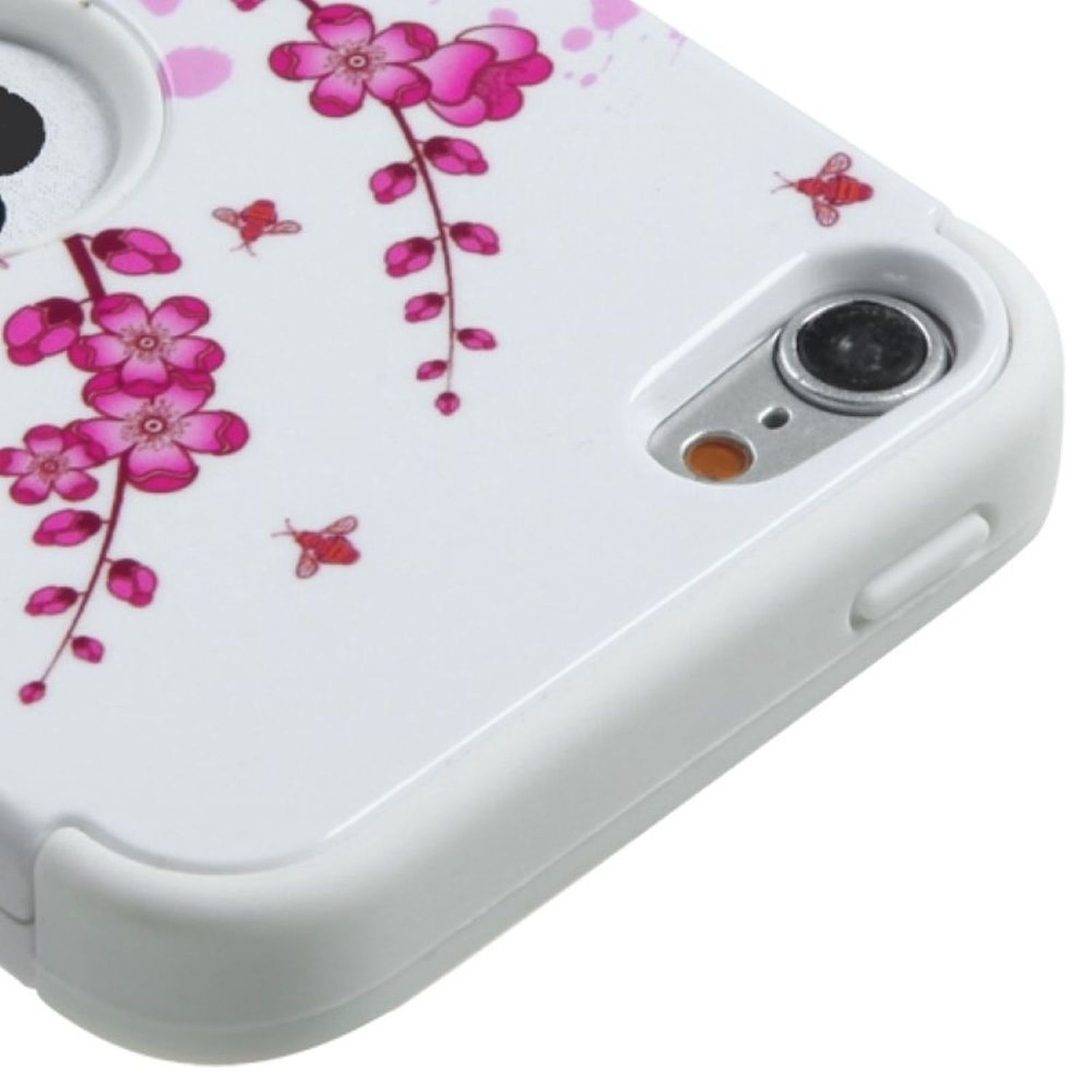 Insten Spring Flowers Solid White TUFF Hybrid Phone Skin Case Cover For iPod touch 6th 5th Gen