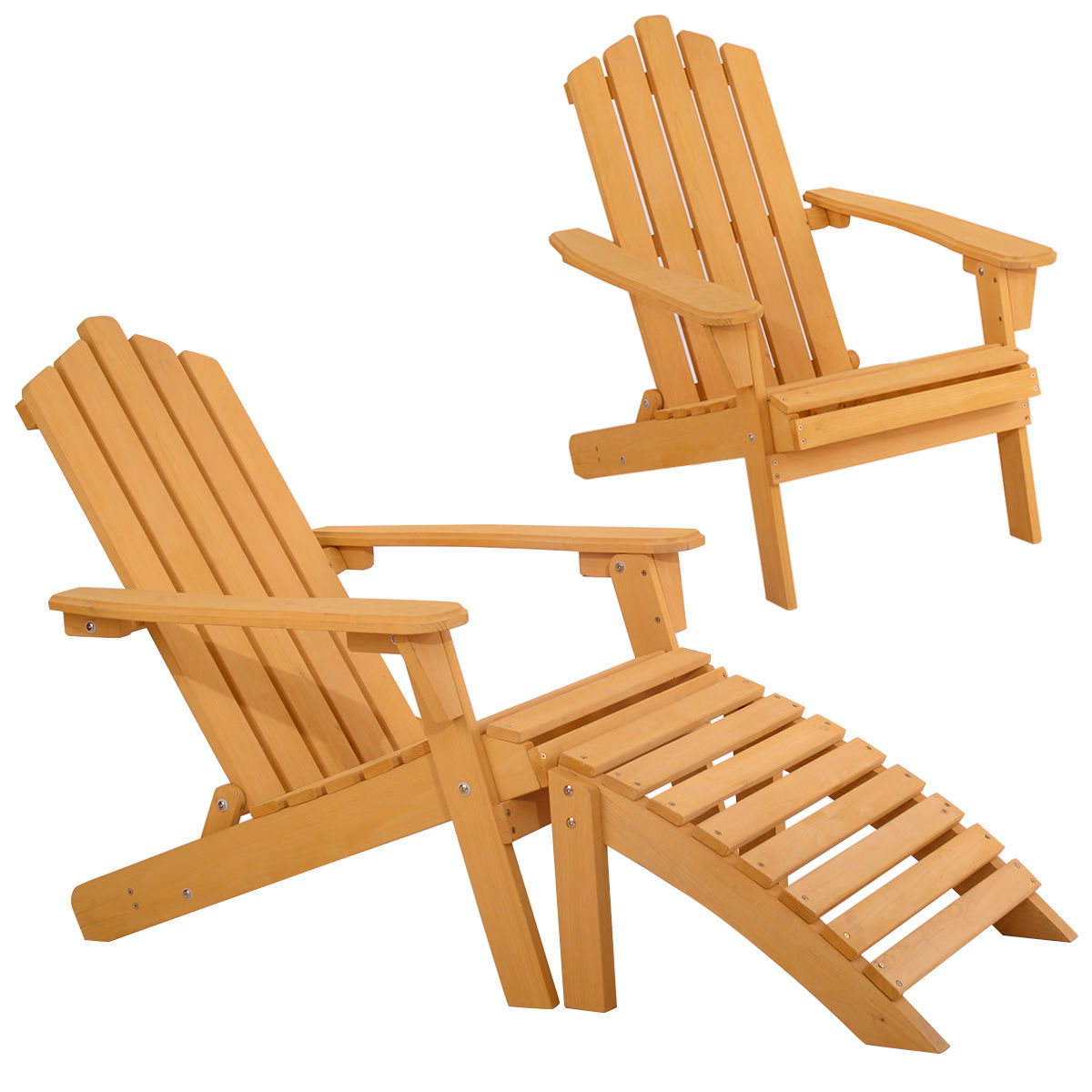 Gymax Outdoor Patio Wood Adirondack Chair w  Ottoman by Gymax