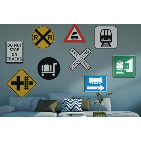Railroad Signs Wall Decal Sticker Set by Wallmonkeys Peel and Stick Graphics (48 in W x 32 in H) (Signs Peel)