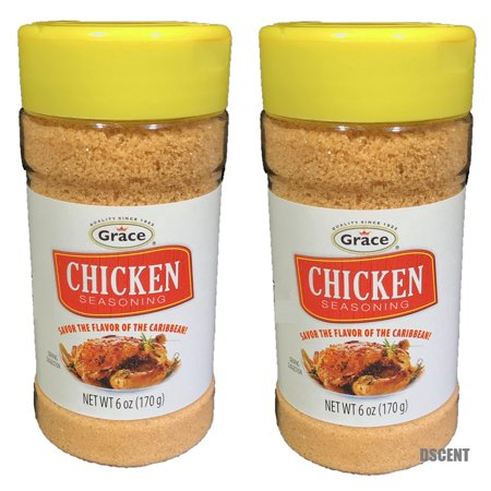 Grape Pack - 2 Pack of Grace Savory Caribbean No Added MSG Chicken Seasoning 6 Oz Each