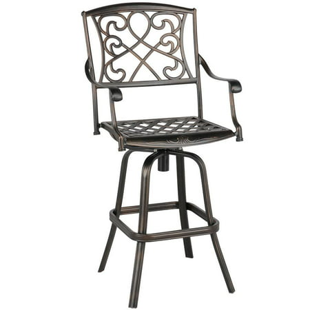 Yaheetech Outdoor Cast Aluminum Patio Chair Swivel Bar Stool Antique Copper Design in Bronze