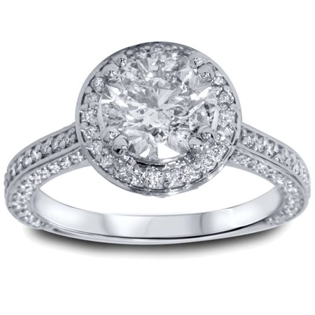 2 1/5ct Halo Micropave Heirloom Diamond Engagement Ring 14K White Gold - image 3 of 3