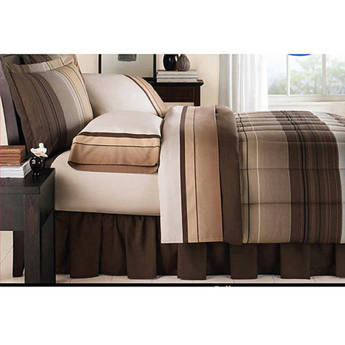 Mainstays Ombre Coordinated Bedding Set with Bedskirt Bed in a Bag