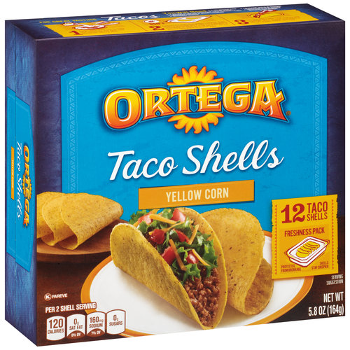 Ortega Yellow Corn Taco Shells, 5.8 oz, 12 ct