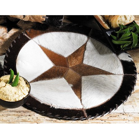Round Cowhide Western Placemat - 16 Inch - Rustic Dining Decor