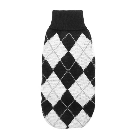 Unique Bargains Turtleneck Rhombus Pattern Pet Dog Poodle Knitwear Sweater Black White  10 Inch - Dogs Poodle Black And White