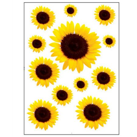 KABOER 2 Pcs Sunflowers PVC Wall Decor Art Living Room Home Office Decor Wall Decals ()