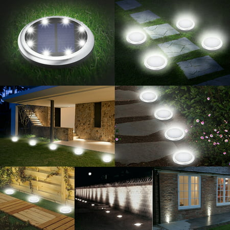 2 Pack Elfeland Solar Ground Lights 4 8 LED Lights Waterproof Outdoor Solar Disk Lights Solar in-Ground Lights Automatically On/Off Lawn Pathway Walkway Garden Patio ()