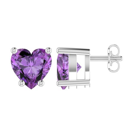 Heart Shaped Ruby Earrings - Solid Sterling Silver 5mm Heart Shaped Natural Amethyst High Polished Stud Earrings with Push Backs