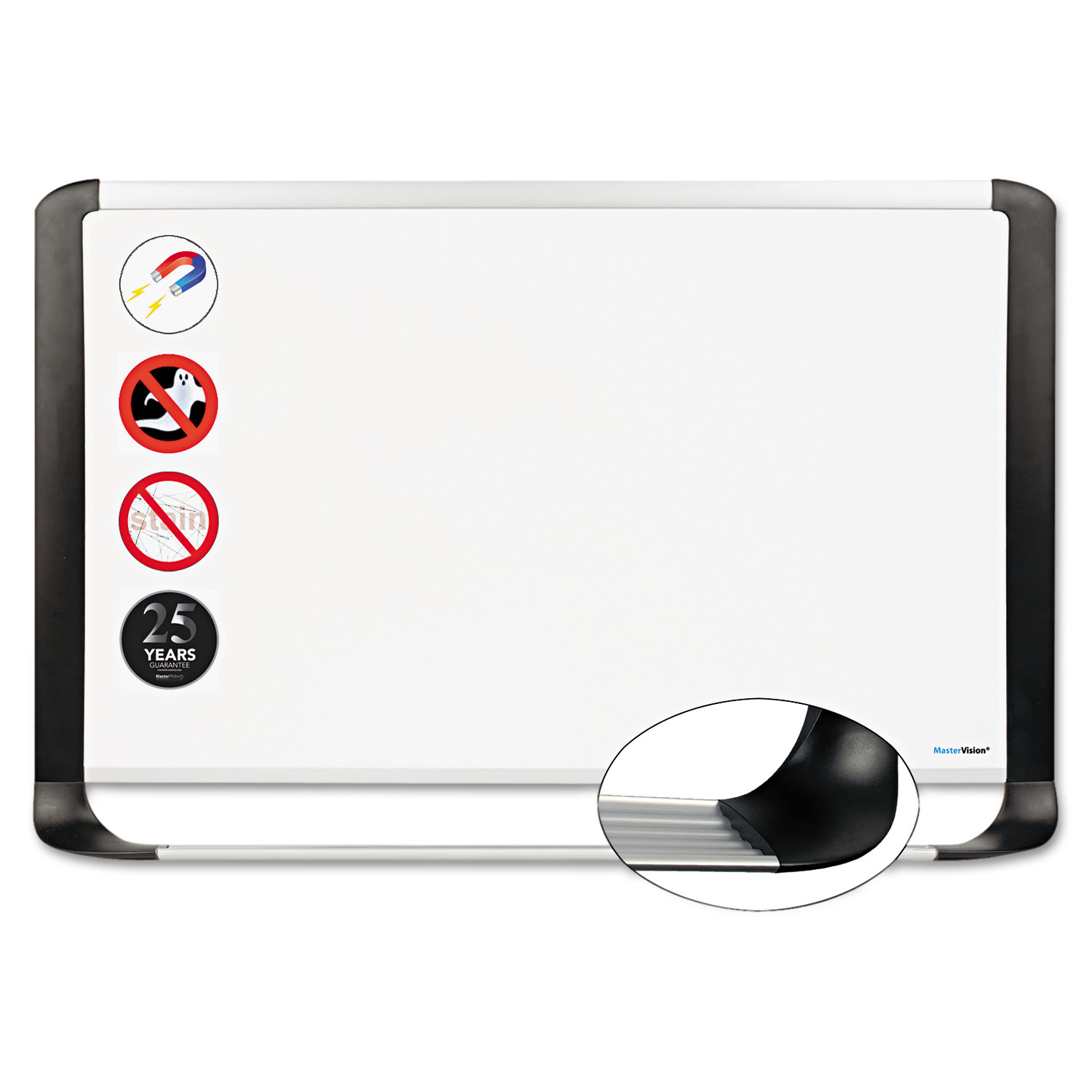 MasterVision Porcelain Magnetic Dry Erase Board, 48x96, White/Silver