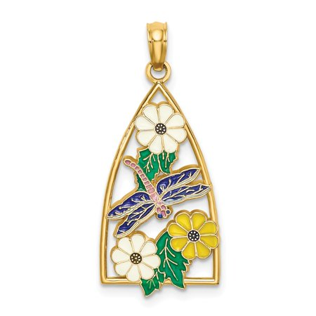 14k Yellow Gold Enamel DRAGONFLY & FLOWERS IN TRIANGLE Charm Pendant ()