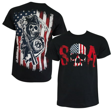 Sons Of Anarchy Men's Black American Flag T-Shirt-Large