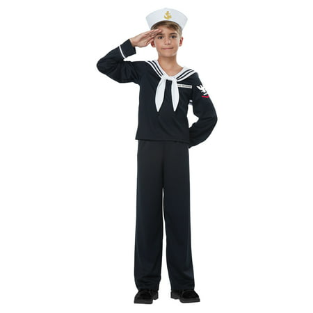 Kids Navy Sailor Uniform Halloween Costume - Sailor Coatume