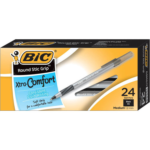 BIC Round Stic Grip Xtra Comfort Ball Pen, Medium Point (1.2 mm), Black Ink, 24-Count