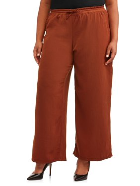 French Laundry Women's Plus Size Wide Leg Palazzo Soft Pants with Drawstring Waist