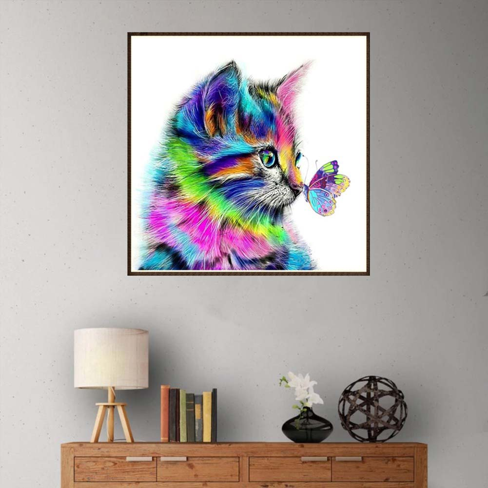 Directer DIY Colorful Cat Butterfly Full Drill Resin Diamond Painting Cross Stitch Kit