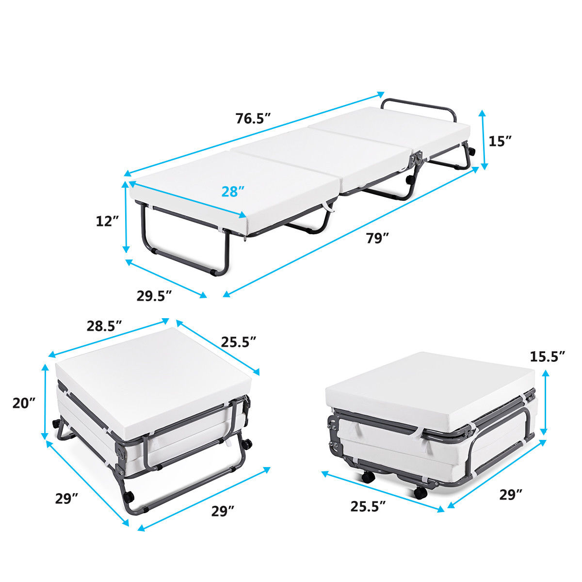 Convertible Sofa Bed Ottoman Couch Mattress Lounge Sleeper w/ Casters - image 8 de 9