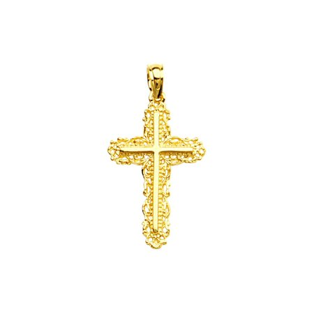 14k Yellow Gold Filigree Lace Trimmed Cross, Pendant Only