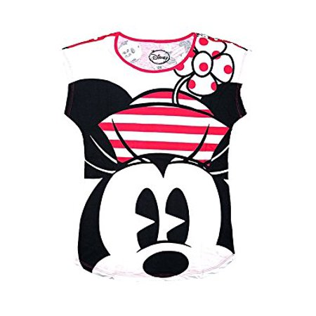 [P] Disney Womens' Classic Minnie Mouse Front and Back Pajama T Shirt Top - Pink (MD)