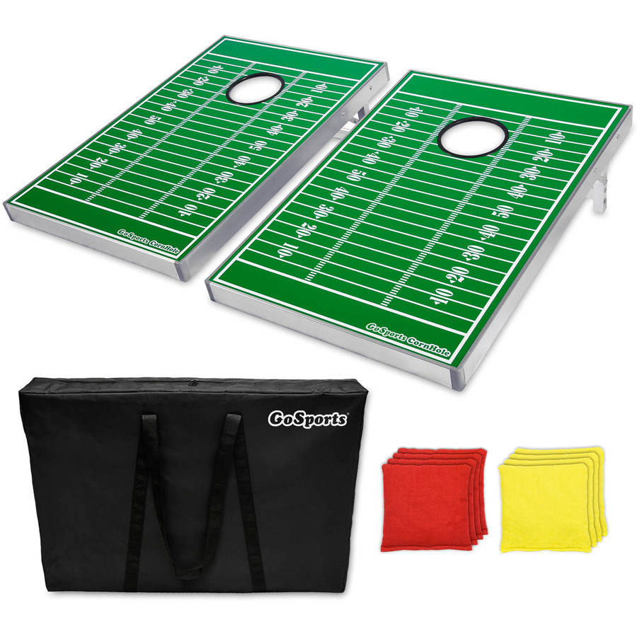 GoSports Foldable Cornhole Boards Bean Bag Toss Game Set, Superior Aluminum Frame, Football Design w/ 8 Bean Bags and Portable Carry Case