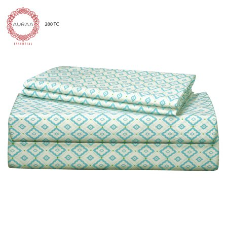 - Auraa Essentials 200 TC 100% Cotton Percale Print 3 PC Twin Sheet Set