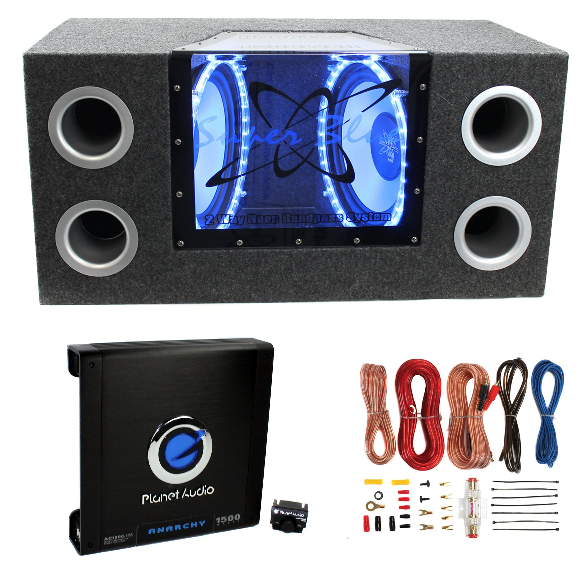 "Pyramid BNPS122 12""1200W Car Bandpass Subwoofers + Box + 1500W Mono Amp + Wiring"