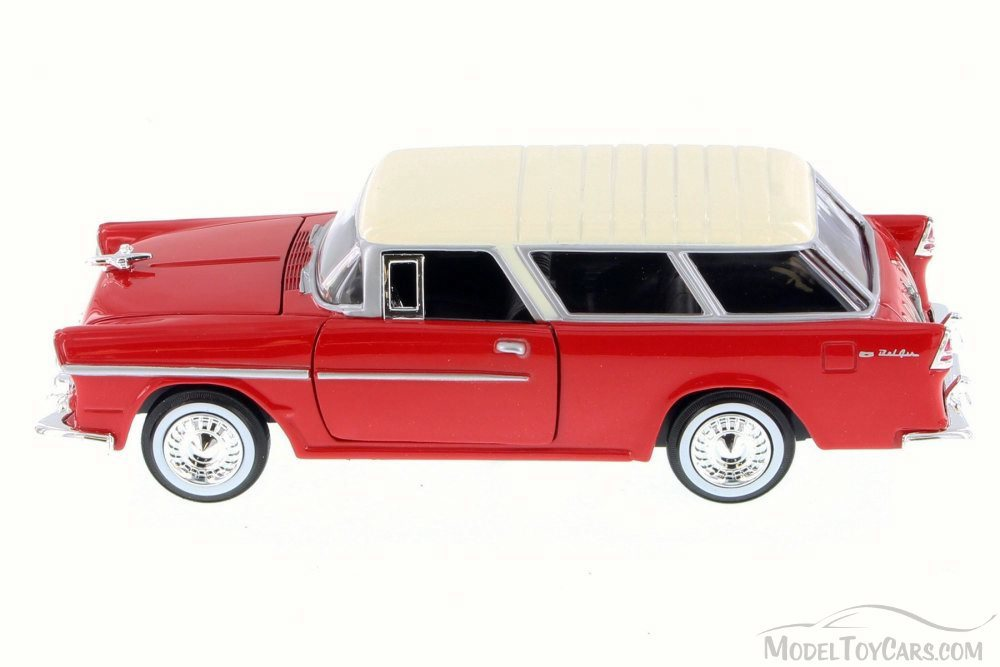 Red w// White 73248WB Motor Max 1955 Chevy Belair Nomad 1//24 Scale Diecast Model Car
