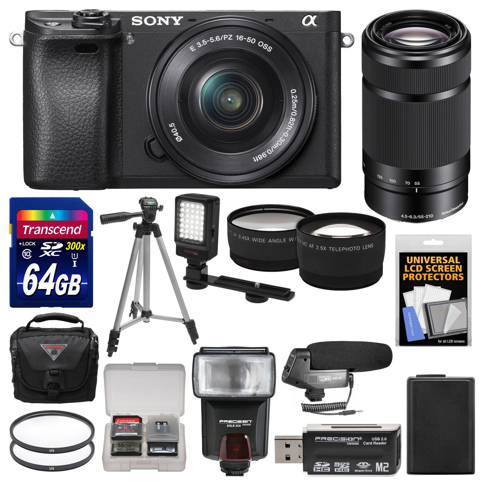 Sony Alpha A6300 4K Wi-Fi Digital Camera & 16-50mm & 55-210mm Lenses (Black) with 64GB Card + Case + Flash + Video Light + Mic + Battery + Tripod + Kit