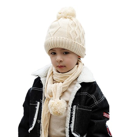 dc53fc02ce8 WONDERBEAN - Kids Winter Warm Hat Scarf Set Children Knit Beanie Cap Neck  Warmer - Walmart.com
