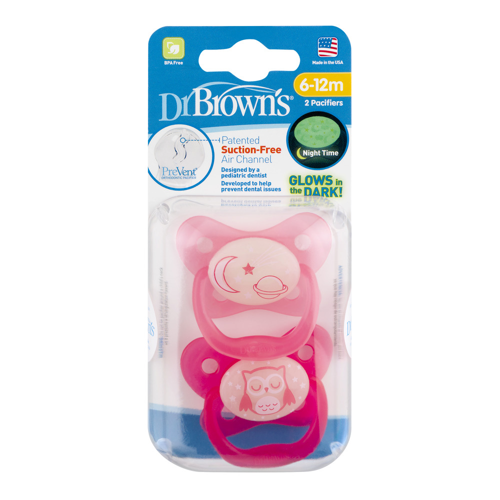 Dr. Brown's Glows in the Dark Pacifiers - 6-12m - 2 PK, 2.0 PACK