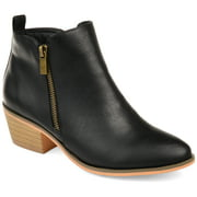 Brinley Co. Women's Faux Leather Stacked Heel Side Zip Booties