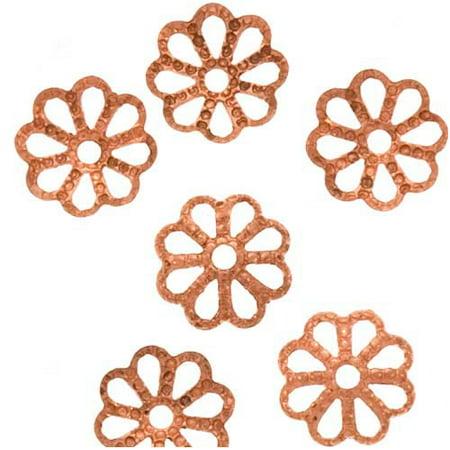 Genuine Copper Open Petal Flower Bead Caps 7mm (50) (Six Petals Flower Beads)