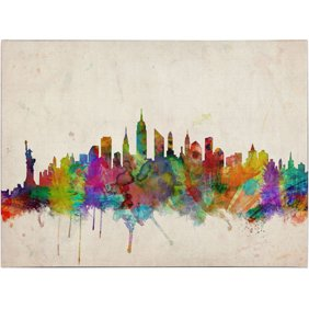 Trademark art urban watercolor world map canvas art by michael trademark art new york skyline canvas art by michael tompsett gumiabroncs Image collections