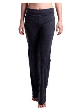 HDE Women's Maternity Yoga Pants Comfortable Lounge Pregnancy Pants Folded Waist (Blue, Large)