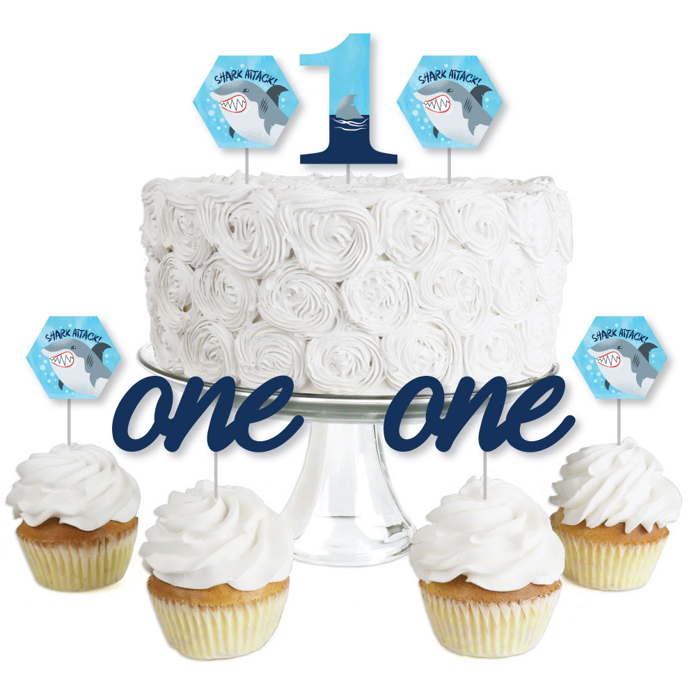 1st Birthday Shark Zone - Dessert Cupcake Toppers - Jawsome Shark First Birthday Party Clear Treat Picks - Set of 24