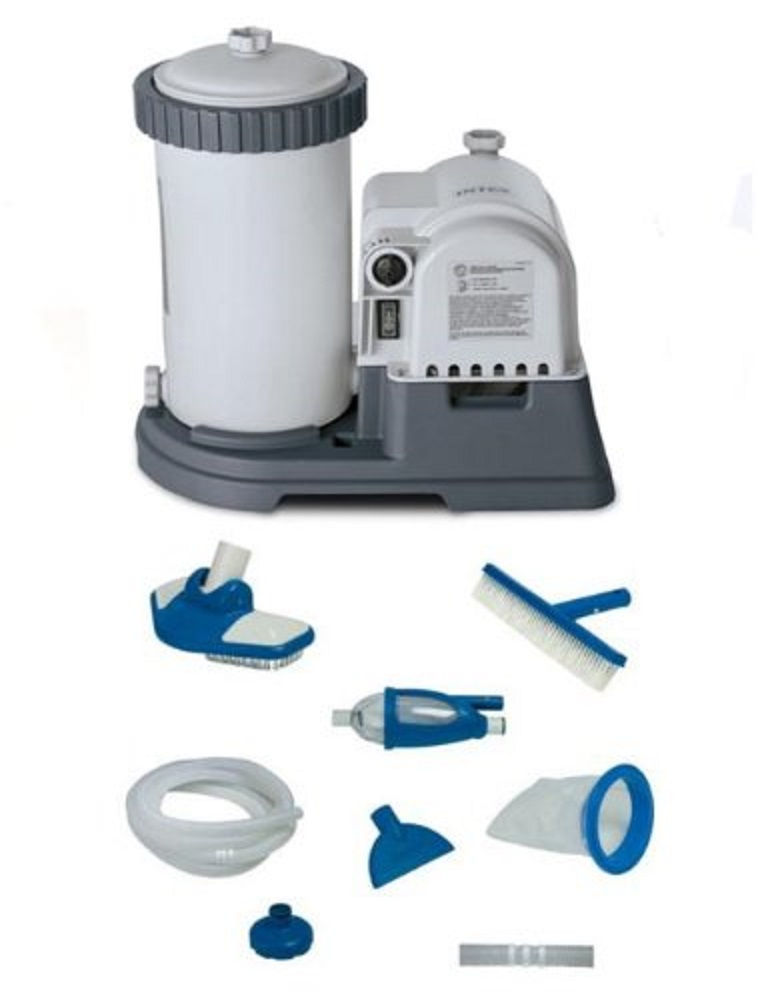 INTEX 2500 GPH GCFI Pool Filter Pump with Timer (633T) & Deluxe Maintenance Kit by