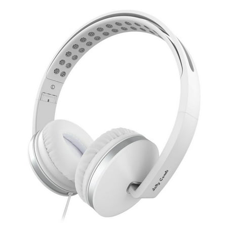 On Ear Headphones with Mic, Jelly Comb Foldable Corded Headphones Wired Headsets with Microphone, Volume Control for Cell Phone, Tablet, PC, Laptop, MP3/4, Video Game (White) ()