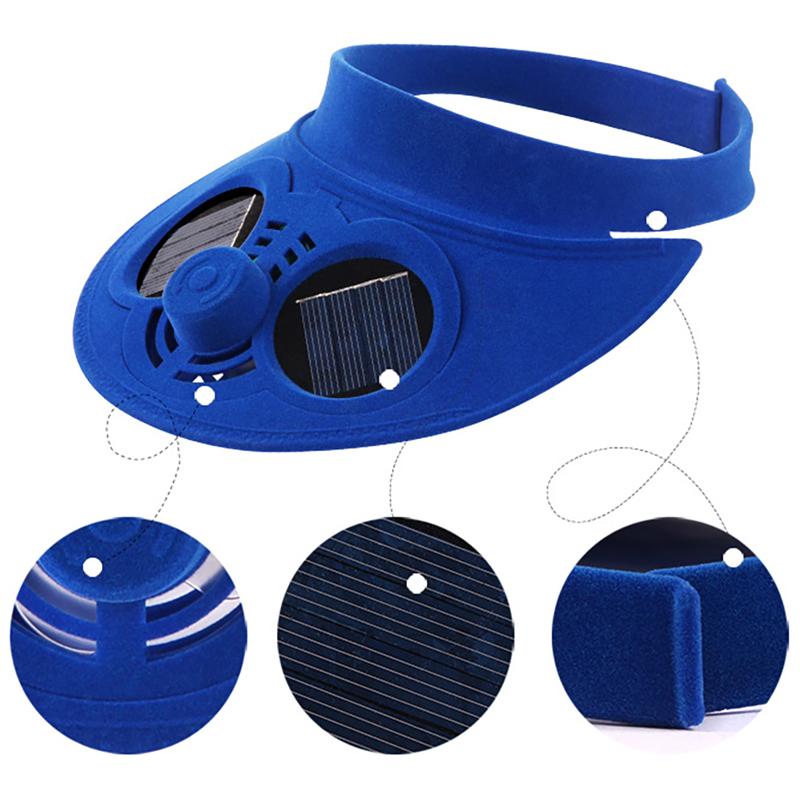 Unisex Summer Sports Cap Empty Top Baseball Hat with Solar Powered Fan Cooling Fan Cap Color:Blue
