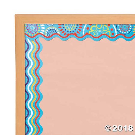 Double-Sided Bulletin Board Borders Scalloped Edge Moroccan Turquoise - Borders For Bulletin Boards