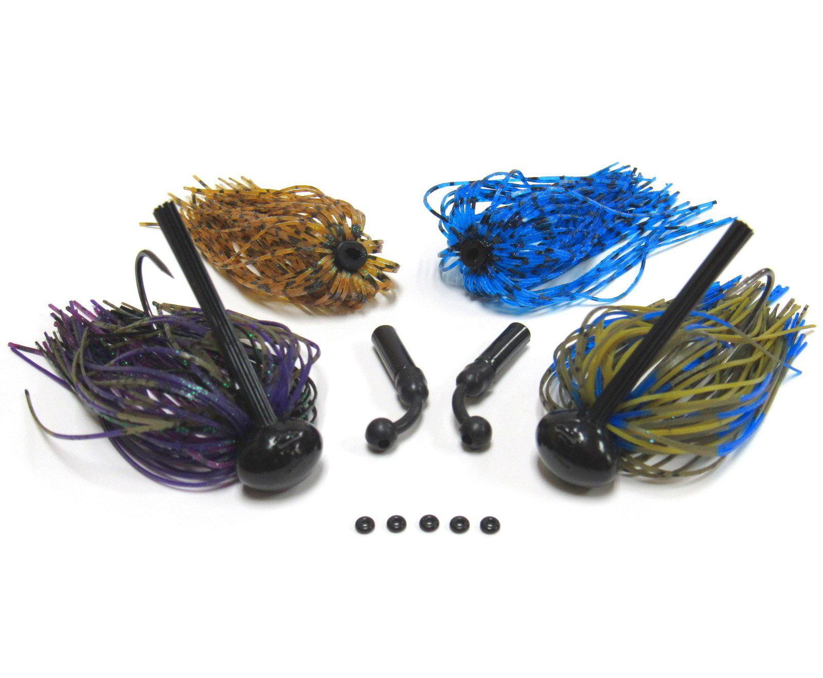 1//2 oz 3 Custom Bass Football Jigs Black Blue
