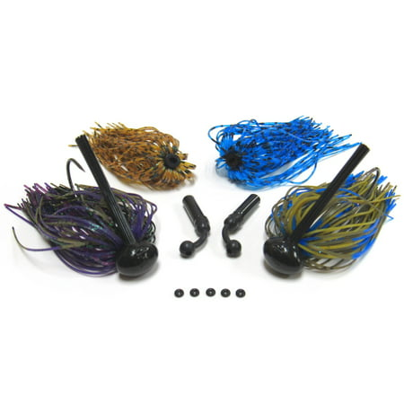 Harmony Fishing - Tungsten Football Jigs (Modular Skirt Kit - 2 Jigs, 4 Skirts, 2 Rattles, 5 Bait Pegs) (1/2 oz)