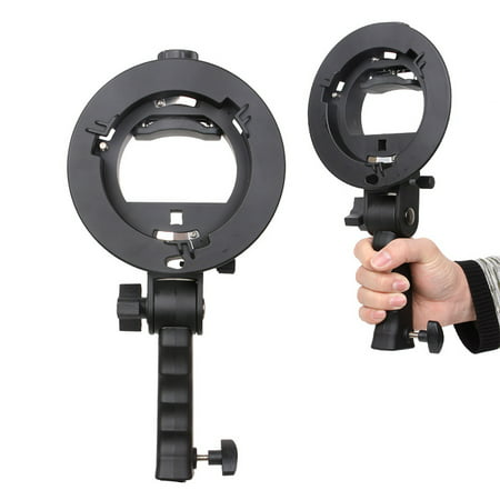 S-shaped Handheld Grip Portable Bowens Mount Speedlight Bracket for Flashlight Softbox Support Reflective Umbrella and other Photography Studio