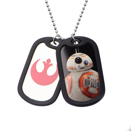 Men's Stainless Steel Episode 7 BB-8 with Rubber Silencer Double Dog Tag Pendant](Military Dog Tags For Sale)